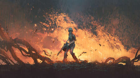 woman with a chainsaw standing on burning ground, digital art atyle, illustration painting Standard-Bild