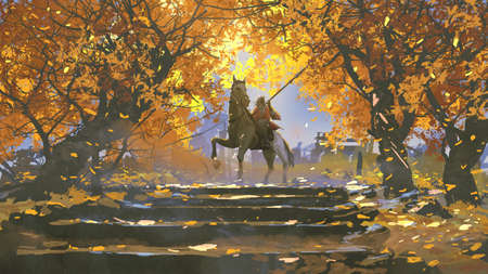 samurai riding a horse in the autumn forest, digital art style, illustration painting Standard-Bild