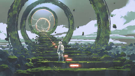 spaceman standing on the futuristic stairs and looking at the light at the end, digital art style, illustration painting Standard-Bild
