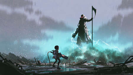 girl with a gun facing a robot with Reaper scythe, digital art style, illustration painting Standard-Bild
