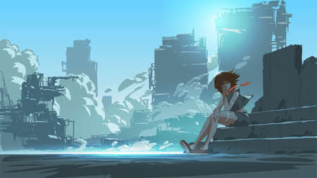 woman sitting outside against the futuristic city scene in the background, vector illustration