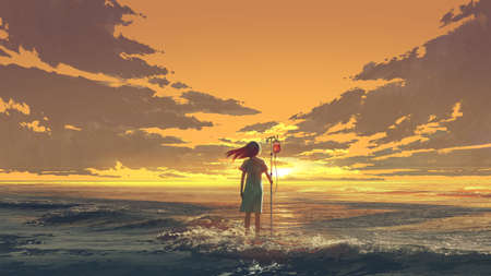 Woman standing on the sea with IV pole with blood bag and looking the sunset sky