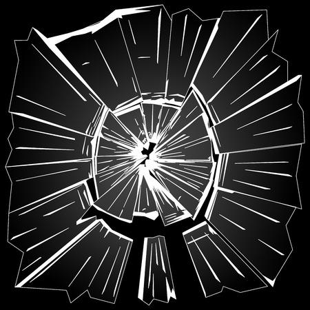 the fragments of broken window glass on black background vector illustration