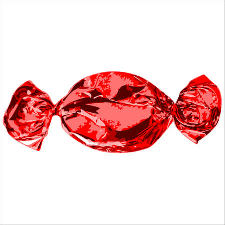 chocolate swirl: chocolate candy in a shiny wrapper on white background vector illustration Illustration