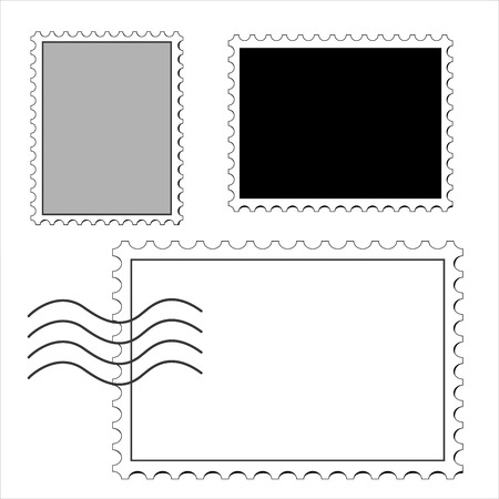 clean postage stamps, template, icon on white background vector illustration Vector Illustration