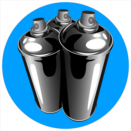 compressed air: icon cans of spray paint to paint graffiti on a white background vector Illustration