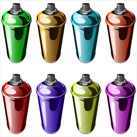 compressed air: spray paint to paint graffiti on a white background vector Illustration