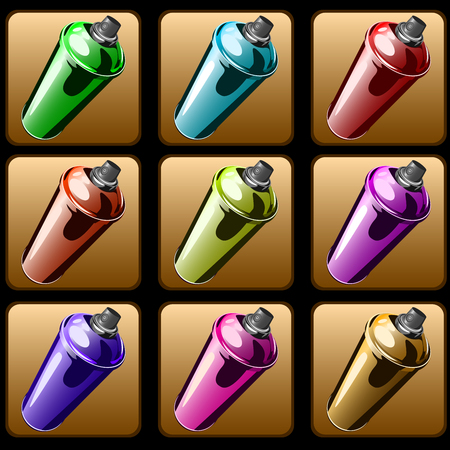 Square icons of spray paint to paint graffiti vector. Illustration