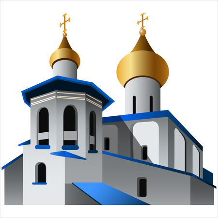 in monastery: church with golden domes on white background vector illustration