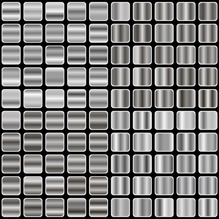 metal textures: set of silver gradient, templates, and metal textures vector illustration Illustration
