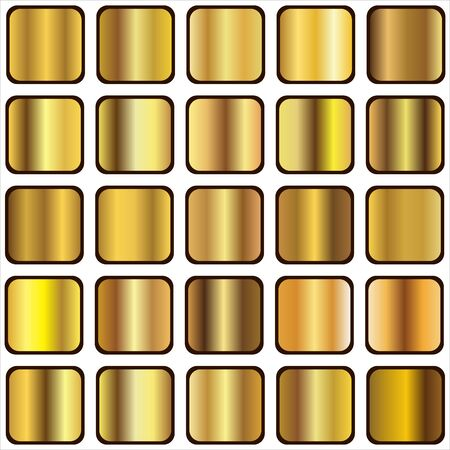 metal textures: set of gold gradient backgrounds, templates, and metal textures vector illustration Illustration