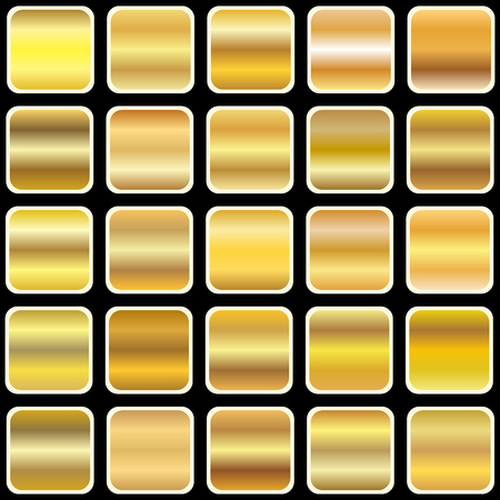 metal textures: Set of gold gradient, templates, and metal textures vector illustration