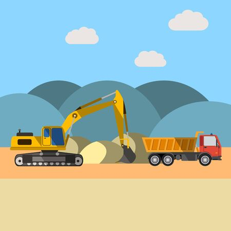 Quarry sand. Excavator loading sand into a dump truck. Construction and heavy equipment. Flat vector illustration. Illustration