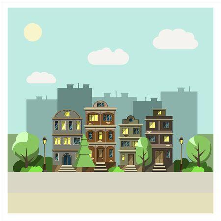 city alley: Flat design urban landscape. Vector illustration. Stock Photo