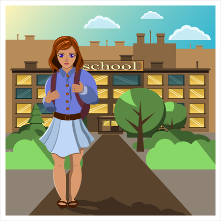 Girl comes home from school. Illustration