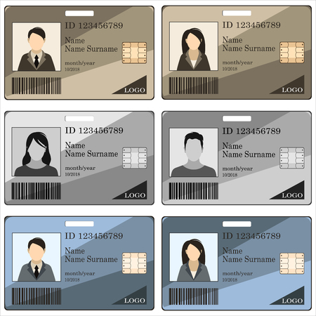 Templates ID cards and badges for men and women. Vector illustration.