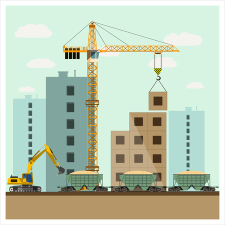 Construction site with equipment Illustration