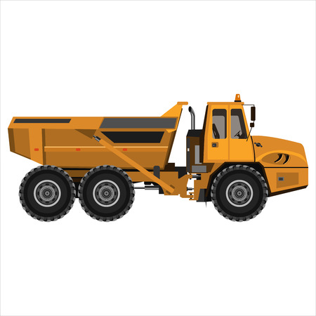 powerful articulated dump truck Vector illustration. Ilustração