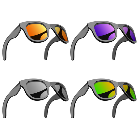set of sunglasses with mirror lenses Illustration
