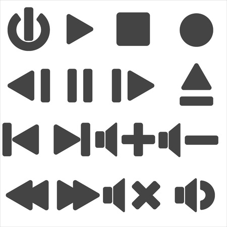 Set of multimedia player icons. Isolated on white background. Flat design. Vector illustration.