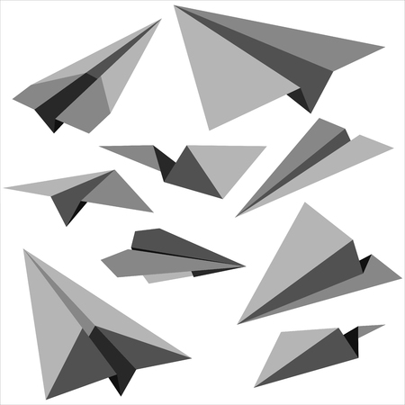 Set of paper planes on white background. Vector illustration.