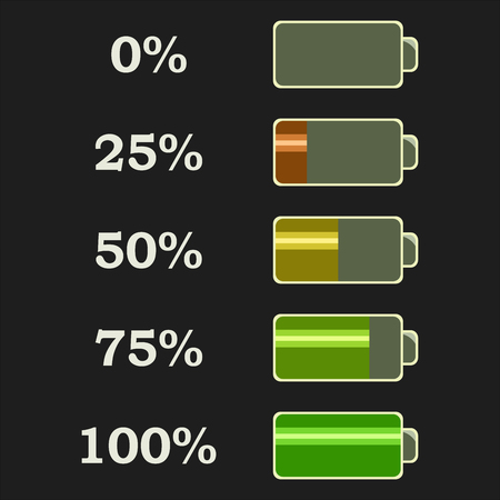 Battery power levels. Flat icons for web design. Isolated on grey background. Vector illustration. Illustration