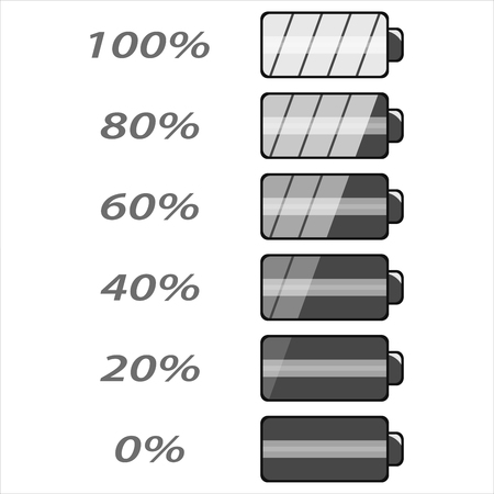Battery power levels. Flat icons for web design. Isolated on white background. Vector illustration.