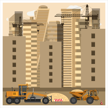 Construction site with equipment. Grader and dump truck clearing the area of sand. Construction equipment. Flat design. Vector illustration.