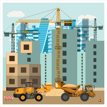 Construction site with equipment. Cranes build houses. Graders loading sand into the truck. Construction equipment. Flat design. Vector illustration.