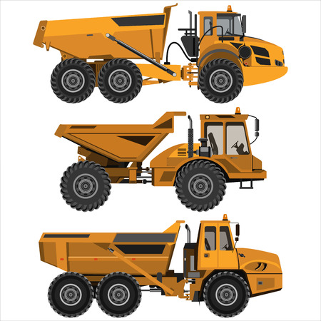 Potente camión volquete articulado. Aislado en un fondo blanco. Ingeniería mecánica, industria pesada, construcción. Diseño plano. Ilustración de vector.