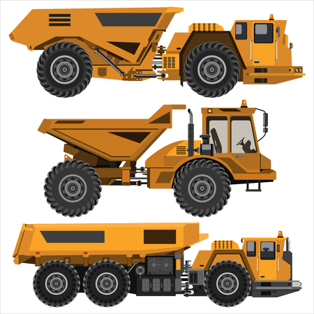 Powerful articulated dump truck. Isolated on a white background. Mechanical engineering, heavy industry, construction. Flat design. Vector illustration.