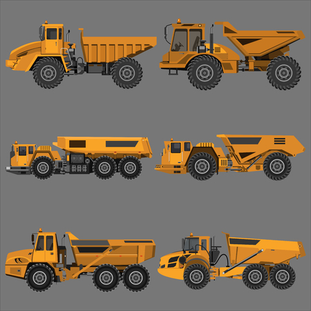Powerful articulated dump truck. Isolated on a grey background. Mechanical engineering, heavy industry, construction. Flat design. Vector illustration.