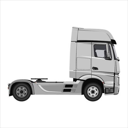 Potente tractor de carga. Aislado sobre fondo blanco. Diseño plano. Ilustración de vector.