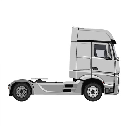 Powerful cargo truck tractor. Isolated on white background. Flat design. Vector illustration. 写真素材 - 112266614