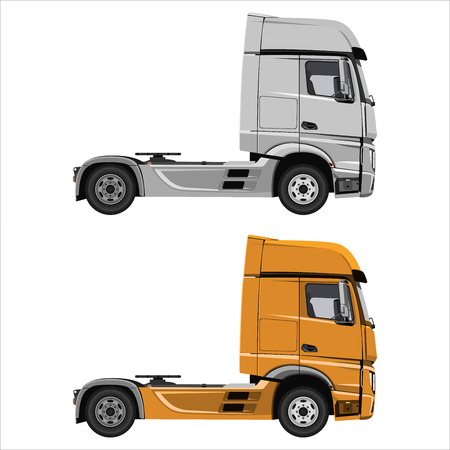 Powerful cargo truck tractor. Isolated on white background. Flat design. Vector illustration.