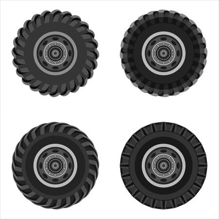 Set of truck wheels with steel wheels isolated on white background. Flat design. Vector illustration.