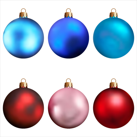 Realistic Christmas and new year tree toys. Set of balls. Isolated on white background. Vector illustration. Illustration