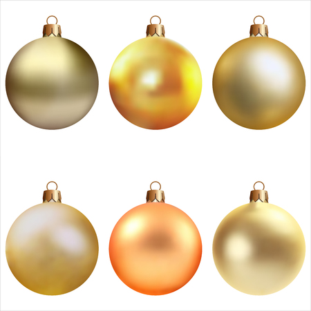 Realistic Christmas and new year tree toys. Set of balls. Isolated on white background. Vector illustration. Stock Photo