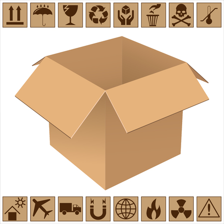 Realistic open cardboard box. The sample design for the packaging. Icons of fragility and recycling. Isolated on white background. Vector illustration. Stock Photo