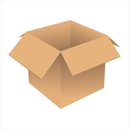 Realistic open cardboard box. The sample design for the packaging. Isolated on white background. Vector illustration.
