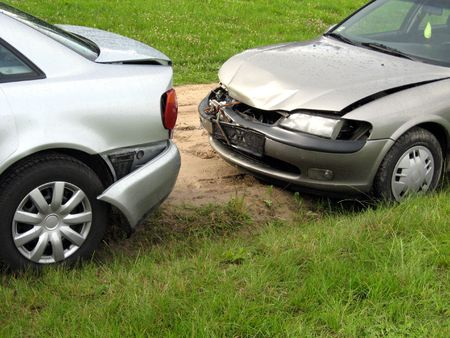 buy car: Two damaged cars after traffic accident