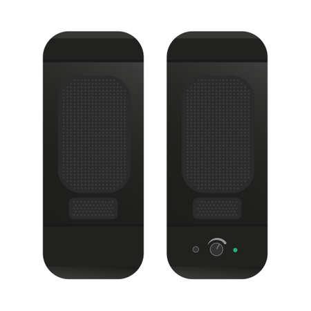 Black rectangular computer speakers. Desktop compact speakers with volume control and power indicator. Flat vector illustration