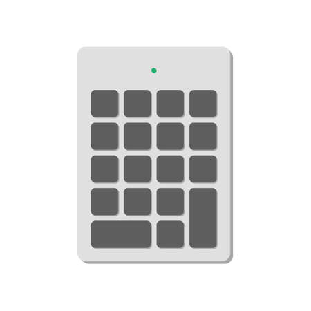 Wireless numeric keypad for a computer without symbols with a power indicator. A modern image of a computer keyboard. Flat vector illustration