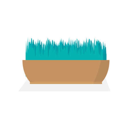 Green grass in a pot. Minimalistic design. A modern image of a potted plant. Flat vector illustration