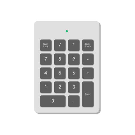 Wireless numeric keypad for computer simplified only with numbers and power indicator. A modern image of a computer keyboard. Flat vector illustration