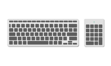 A set of computer keyboards, basic and numeric without symbols, gray color. A modern image of a computer keyboard. Flat vector illustration
