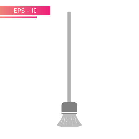 Grey floor mop. Realistic design. On a white background. Flat vector illustration.