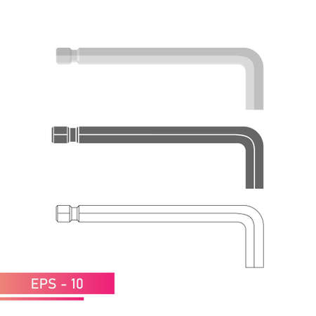 Set, Hex key for the specialist. Linear, solid and realistic design. On a white background. Flat vector illustration.