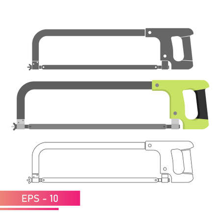 Set, Metal hacksaw, with a convenient handle. Linear, solid and realistic design. On a white background. Tools for workers. Flat vector illustration.