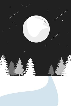 Christmas postcard. Greeting card. Background. Night sky, forest, star, moon and shooting star